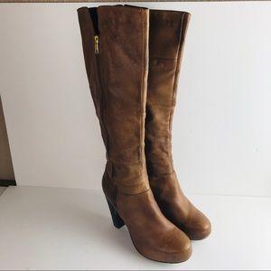 Steve Madden Rikki Womens Tall Leather Cognac Boot